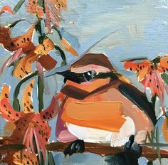 Varied Thrush and Lilies Original Oil Painting by Angela Moulton