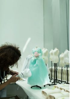 Take a look inside the preparation for Le Petit Théâtre Dior Exhibition