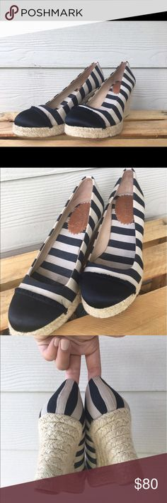 J. Crew Seville Canvas and Satin Wedge Espadrilles Super adorable striped Spring time Wedges! J. Crew Shoes Wedges