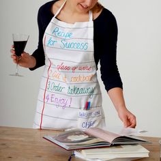 Doodle Apron // Made from a thick cotton stock that's designed to be written on, with washable markers... for the aspiring chef in your life
