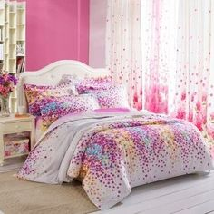 Purple Lilac 100% Toile Bedding Sets for Girls