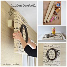 How to make monogrammed and decoupaged art that cleverly hides the doorbell (or in the wall ac unit).