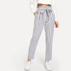 Shop Vertical Striped Frill Belted Pants at ROMWE, discover more fashion styles online. Look Fashion, Fashion Clothes, Fashion Outfits, Fashion Styles, Fashion Boots, Girl Outfits, Casual Outfits, Cute Outfits, Pants Outfit