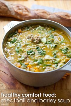 Enjoy a comforting bowl of meatball and barley soup guilt-free with this healthy recipe.