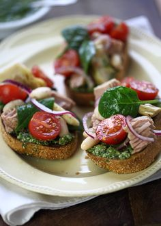 Pesto Bruschetta with Tuna, White Bean, Cherry Tomato and Artichoke Salad by Mediterrasian