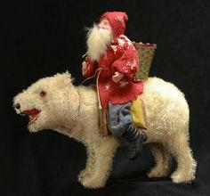Antique German Santa on Polar Bear Candy Container C1910