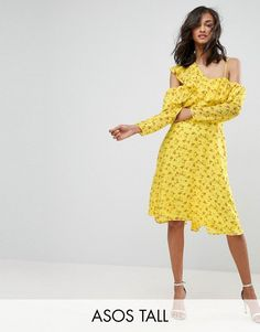 Buy it now. ASOS TALL Cold Shoulder Ruffle Tea Dress in Dobby Ditsy Print - Yellow. Tall dress by ASOS TALL, Printed woven fabric, Cold-shoulder neck, Ruffle overlay, Fit-and-flare style, Regular fit - true to size, Machine wash, 100% Polyester, Our model wears a UK 8/EU 36/US 4 and is 178cm/5'10 tall, Midi dress length between: 115-125cm. Find fresh wardrobe wins with our ASOS TALL edit. Raise your sunrise-till-sunset game with occasion dresses, cool separates and jeans that go up to a…