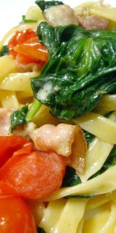 Spinach Bacon Fettucine Pasta Recipe