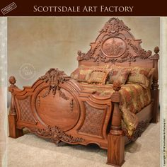 Insane Hand Carved Bed Walnut – Custom Wood Bedroom Furniture – Carved by the hands of our in house master wood carver this king size bed frame is hand crafted from solid grain matched walnut w . Wood Bedroom Furniture, Victorian Furniture, Wooden Furniture, Tuscan Furniture, Vintage Furniture, Furniture Design, Carved Beds, Hand Carved, Carved Wood