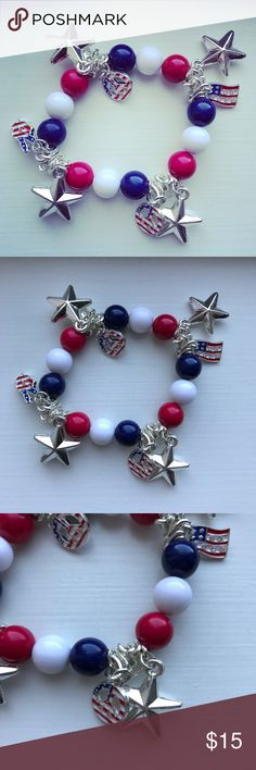 Red, white & blue beaded patriotic USA bracelet Red, white, and blue beaded ball patriotic USA America charm bracelet. The bracelet is elastic, and is meant to be one size fits all. There are silver plastic star charms dangling from the bracelet, and then silver metal patriotic charms that are painted with an American flag pattern in enamel on them. The charms are: peace signs, peace sign with two gingers, and an American flag (with rhinestones). In excellent condition! Perfect for any…