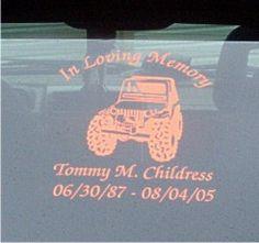 Custom Jeep memorial decal.
