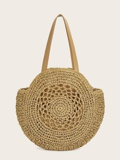 To find out about the Round Shaped Woven Tote Bag at SHEIN, part of our latest Shoulder & Tote Bag ready to shop online today! Crochet Handbags, Crochet Purses, Bag Women, Round Bag, Crochet Round, Knitted Bags, Purses And Handbags, Straw Bag, Shopping Bag