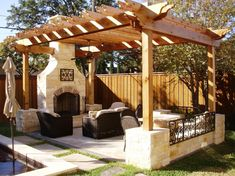 Home landscaping ideas designing backyard patio tips for small outdoor living room ideas with installing pergola and stone fireplace surround