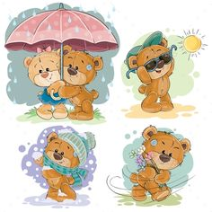 Buy Clip Art Illustrations of Teddy Bear by vectorpocket on GraphicRiver. Set of vector clip art illustrations of teddy bear and different seasons