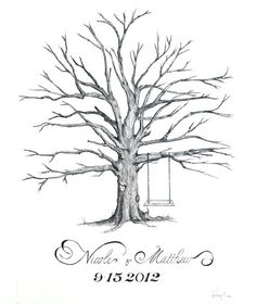Custom Drawn Thumbprint Love Tree - Alternative Guest Book for Weddings via Etsy