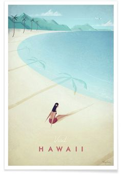 Hawaii vintage travel poster of a retro girl sunbathing on a beach. Original Hawaii vintage travel poster by Henry Rivers. Buy a premium art print! Vintage Hawaii, Retro Poster, Vintage Travel Posters, Framed Art Prints, Poster Prints, Art Posters, Poster Wall, Illustrations Posters, Movie Posters