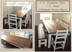 Completely handmade farm table, bench and chairs.  Simply Southern Home Decor