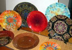 Fabric covered plates  Kitchen Exhibitionist: My Plates Runneth Over