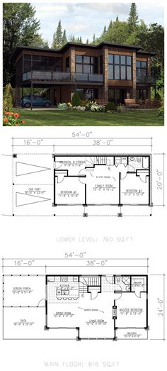 #Modern #HousePlan 50324 has 1576 square feet of living space with 3 bedrooms, 2 bathrooms and drive-under parking. Lower level: bedrooms 2 & 3, family room, laundry closet & full bathroom. Main Floor: kitchen, dining, living room, screened porch, deck, full bathroom & master suite with walk-in closet & balcony.