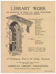 This vintage ALA poster sure is exciting! Sign me up for librarianship!