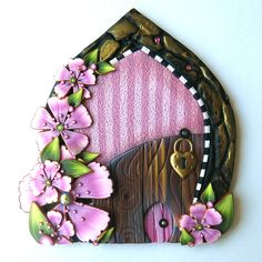Pink Blossom Fairy Door with a Pet Door by Claybykim Polymer