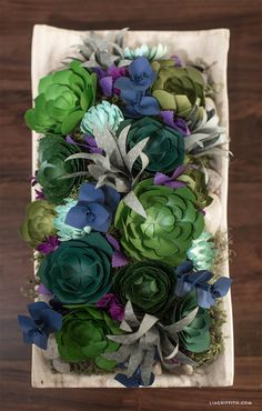 Make your own stunning centerpiece using succulent paper flowers. Download the patterns and follow the tutorial by handcrafted lifestyle expert Lia Griffith.