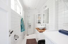 538-sq-ft-cottage-in-sweden - 2 swinging panels swing out to create a shower enclosure - brilliant space saver!