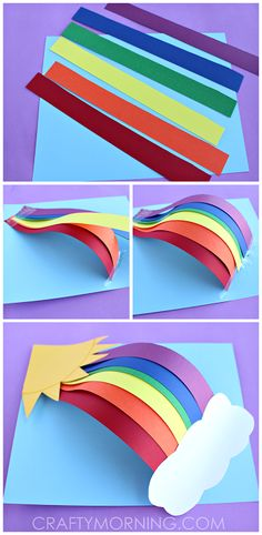 Paper Rainbow Craft diy craft crafts easy crafts diy ideas diy crafts kids crafts paper crafts crafts for kids activities for kids Paper Crafts For Kids, Crafts To Do, Projects For Kids, Diy For Kids, Paper Crafting, Craft Projects, Craft Ideas, 3d Craft, Diy Paper