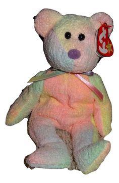 TY Groovy Bear Beanie Baby Soft Pastel Colors Tie Dye PE Pellets 1999 TH  Ty 5b0f980ecc01