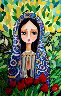 Virgin Mary Art, Abstract Face Art, Face Illustration, Fantasy Drawings, Mary And Jesus, Sidewalk Art, Mexican Folk Art, Sacred Art, Christian Art