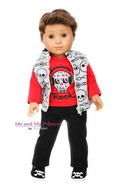 f8ec88f9e06 Skull Rock Red Top + Black Pants + Fleece Vest + Shoes Outfit for 18 inch  American Girl Boy Doll Clothes
