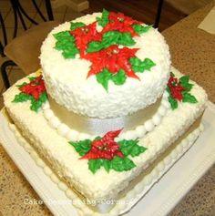 Christmas+Decorations | Christmas Cake Decorating Ideas - Poinsettia cake, Christmas Tree Cake ...