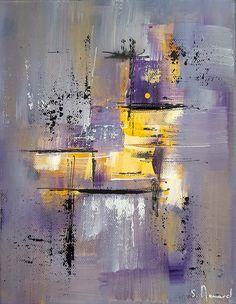 Peinture moderne acrylique violet gris jaune blanc noir sur châssis toile coton 19 x 24 cm : Peintures par stephanie-menard