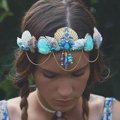 Blue    #seashells #mermaids #blue #tones #gold #boho #handmade #crystals #love