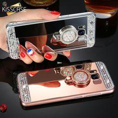 Kisscase Cute Glitter Mirror Case For Samsung Galaxy Cases Rhinestone Ring Holder Iphone 5 Se 6 7 8 Plus Coque Galaxy S7, Samsung Galaxy S5, Galaxy Note, Mobiles, Samsung J3, Ring Stand, Diamond Glitter, Ali Express, Mobile Phone Cases