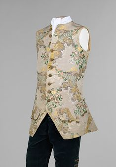 """Suit 1740-1760 The Metropolitan Museum of Art The 18th century; when it was not only common but fashionable for men to deck themselves out in pastels, lace, spangles, wigs, cosmetics, and high heels. """"This suit is the epitome of mid-18th century men's wear with its curved jacket front, fitted breeches, narrow sleeves and decorative mid-thigh length waistcoat. Waistcoats of the time were a vehicle for imagination and, in this case, add an ornate aspect to an otherwise conservative ensemble. The u"""