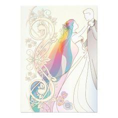 Scroll Rainbow Bride & Groom Wedding Invite-1