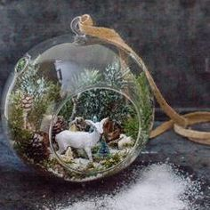 Hanging Glass Globe Terrarium Air Plant Candle Holder Christmas Ornament As seen in Better Homes & G Noel Christmas, Diy Christmas Ornaments, Christmas Projects, All Things Christmas, Winter Christmas, Holiday Crafts, Vintage Christmas, Christmas Decorations, Holiday Decor
