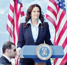 Lynda Carter, presidential podium on the set of Supergirl