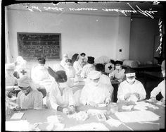 Nurses in Chicago Making Influenza Masks, 1918. #nursinghistory Chicago Daily News negatives collection, DN-0003451. Courtesy of the Chicago Historical Society.