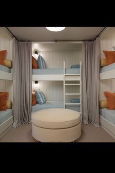Someday I'll have a bunk room so all my (future) grandbabies can stay over! Someday I'll have a bunk room so all my (future) grandbabies [. Bunk Bed Rooms, Bunk Beds Built In, Kids Bunk Beds, Bunk Bed Wall, Unique Bunk Beds, L Shaped Bunk Beds, Double Bunk Beds, Loft Beds, Sleepover Room