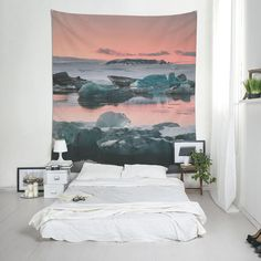 Pink and green Icelandic landscape wall tapestry, Iceland photography, fabric wall decor, Boho decoration. Fabric Wall Decor, Hanging Fabric, Photo Tapestry, Affordable Wall Art, Landscape Walls, Wall Tapestries, Wall Prints, Boho Decor, Wall Design