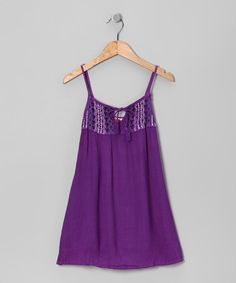 Take a look at this Purple Embroidered Tie-Front Dress - Toddler & Girls by Raya Sun on #zulily today!