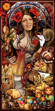 Goddess of Bread - for the Buford Highway Farmer's Market (a world famous gourmet grocer) in Atlanta, GA. MODEL: Elena Artimovich PLATFORM: PC and Mac TOOLS: Two Wacom tablets (Intuos 3 and Cintiq ...