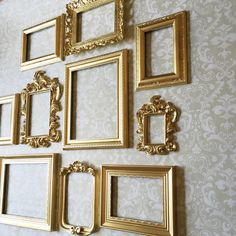 73efc6516c7 GOLD Wall Gallery PICTURE FRAMES - Vintage Style - shabby chic wedding -  Glass… Picture