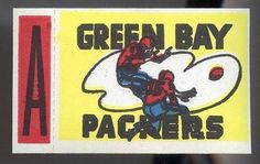 1961 TOPPS FOOTBALL FLOCKED STICKERS w/TABS GREEN BAY PACKERS VERY CLEAN