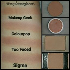 Eyeshadow dupes: Makeup Geek creme brule, Colourpop cosmetics Cornelius from the Kathleen lights quad, Too Faced salted caramel from the chocolate bar palette and Sigma beauty cinnamon from neutral eye palette
