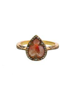 (CATHY WATERMAN) Pear Rustic Diamond Ring - 22 Karat