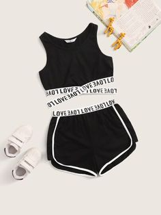 Girls Letter Tape Crisscross Hem Top & Dolphin Shorts Set – kidenhome Source by kidenhome clothes Cute Lazy Outfits, Teenage Girl Outfits, Cute Swag Outfits, Crop Top Outfits, Girls Fashion Clothes, Kids Outfits Girls, Teen Fashion Outfits, Mode Outfits, Retro Outfits