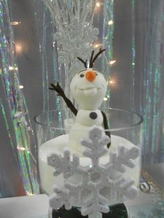 Olaf decoration at a Frozen birthday party!  See more party ideas at CatchMyParty.com!